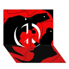 Black And Red Lizard  Peace Sign 3d Greeting Card (7x5) by Valentinaart