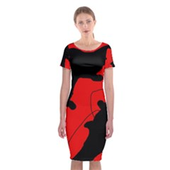 Black And Red Lizard  Classic Short Sleeve Midi Dress