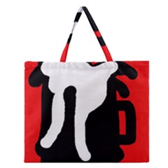 Red, black and white Zipper Large Tote Bag