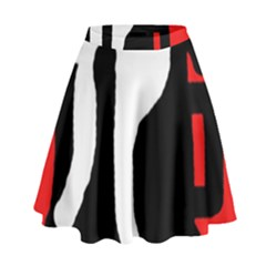 Red, black and white High Waist Skirt by Valentinaart