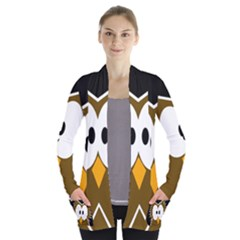 Brown Simple Owl Women s Open Front Pockets Cardigan(p194)