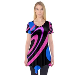 Pink and blue twist Short Sleeve Tunic  by Valentinaart