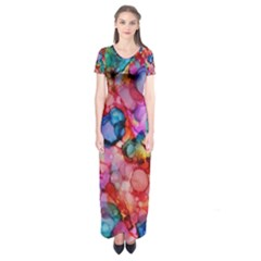 Rainbow Ocean  Short Sleeve Maxi Dress by KirstenStar