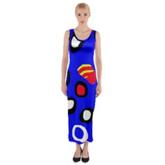 Blue pattern abstraction Fitted Maxi Dress
