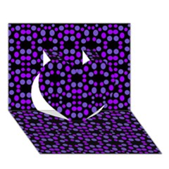 Dots Pattern Purple Heart 3d Greeting Card (7x5) by BrightVibesDesign