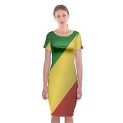 Flag Of Republic Of The Congo Classic Short Sleeve Midi Dress by artpics