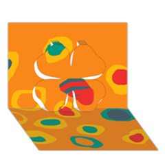 Orange Abstraction Clover 3d Greeting Card (7x5) by Valentinaart