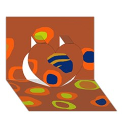 Orange Abstraction Heart 3d Greeting Card (7x5) by Valentinaart