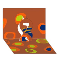 Orange Abstraction Ribbon 3d Greeting Card (7x5) by Valentinaart