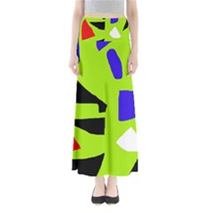 Green Abstraction Maxi Skirts
