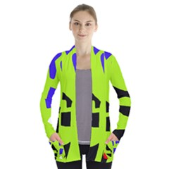 Green Abstraction Women s Open Front Pockets Cardigan(p194)