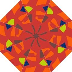 Red Abstraction Hook Handle Umbrellas (medium) by Valentinaart