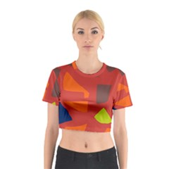 Red Abstraction Cotton Crop Top by Valentinaart