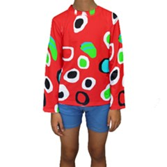Red abstract pattern Kid s Long Sleeve Swimwear by Valentinaart