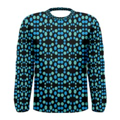 Dots Pattern Turquoise Blue Men s Long Sleeve Tee by BrightVibesDesign