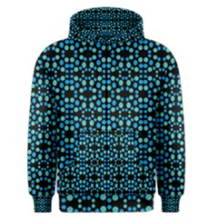 Dots Pattern Turquoise Blue Men s Zipper Hoodie by BrightVibesDesign