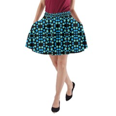 Dots Pattern Turquoise Blue A Line Pocket Skirt by BrightVibesDesign