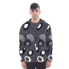 Gray abstract pattern Hooded Wind Breaker (Men) by Valentinaart