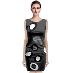 Gray Abstract Pattern Classic Sleeveless Midi Dress by Valentinaart