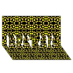 Dots Pattern Yellow Best Sis 3d Greeting Card (8x4) by BrightVibesDesign