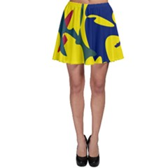 Yellow Amoeba Abstraction Skater Skirt by Valentinaart