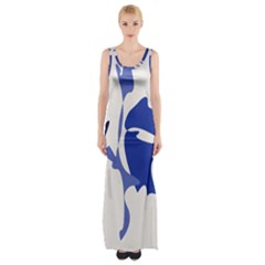 Blue Amoeba Abstract Maxi Thigh Split Dress by Valentinaart