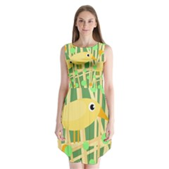 Yellow Little Bird Sleeveless Chiffon Dress