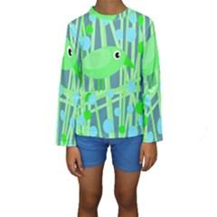 Green bird Kid s Long Sleeve Swimwear by Valentinaart