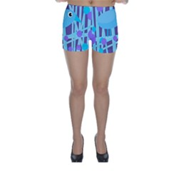 Blue and purple bird Skinny Shorts by Valentinaart