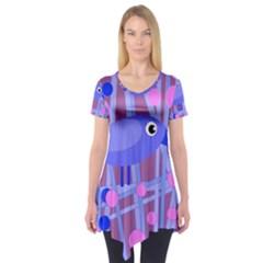 Purple And Blue Bird Short Sleeve Tunic