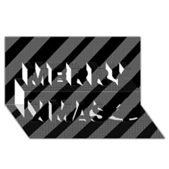 Black And Gray Lines Merry Xmas 3d Greeting Card (8x4) by Valentinaart