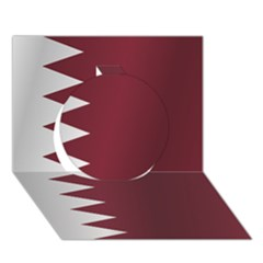 Flag Of Qatar Circle 3D Greeting Card (7x5) by artpics