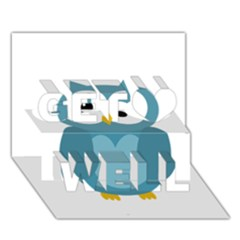 Cute Blue Owl Get Well 3d Greeting Card (7x5) by Valentinaart