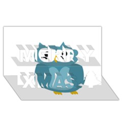 Cute Blue Owl Merry Xmas 3d Greeting Card (8x4) by Valentinaart