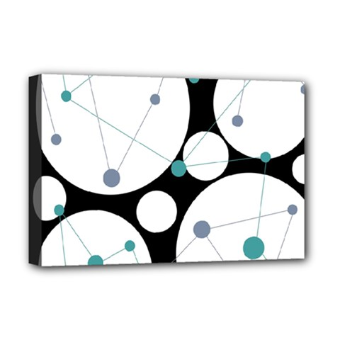 Decorative circles - blue Deluxe Canvas 18  x 12   by Valentinaart