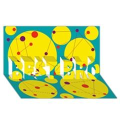 Yellow And Green Decorative Circles Best Bro 3d Greeting Card (8x4) by Valentinaart