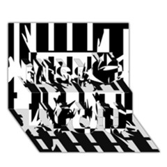 Black and white abstraction Miss You 3D Greeting Card (7x5)