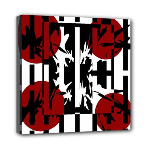 Red, Black And White Elegant Design Mini Canvas 8  X 8  by Valentinaart