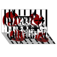 Red, Black And White Elegant Design Happy Birthday 3d Greeting Card (8x4) by Valentinaart