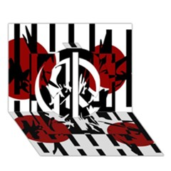 Red, Black And White Elegant Design Peace Sign 3d Greeting Card (7x5) by Valentinaart
