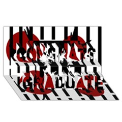 Red, Black And White Elegant Design Congrats Graduate 3d Greeting Card (8x4) by Valentinaart
