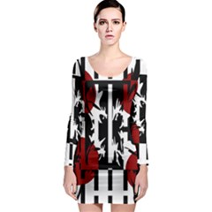 Red, Black And White Elegant Design Long Sleeve Bodycon Dress by Valentinaart
