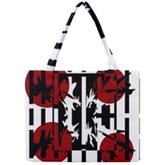 Red, Black And White Elegant Design Mini Tote Bag by Valentinaart