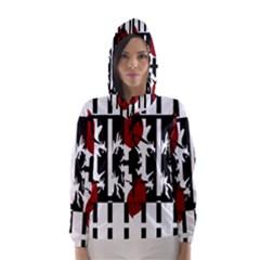 Red, Black And White Elegant Design Hooded Wind Breaker (women) by Valentinaart
