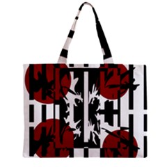 Red, Black And White Elegant Design Zipper Mini Tote Bag by Valentinaart