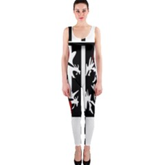 Red, Black And White Elegant Design Onepiece Catsuit by Valentinaart