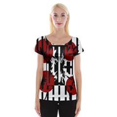 Red, Black And White Elegant Design Women s Cap Sleeve Top by Valentinaart