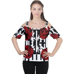 Red, Black And White Elegant Design Women s Cutout Shoulder Tee by Valentinaart