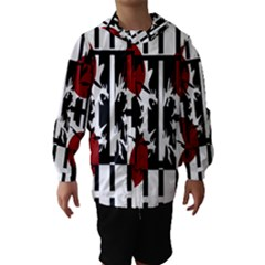 Red, Black And White Elegant Design Hooded Wind Breaker (kids) by Valentinaart