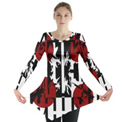 Red, Black And White Elegant Design Long Sleeve Tunic  by Valentinaart